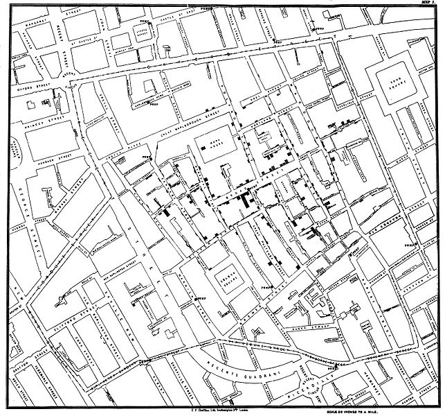 John Snow's Dot Distribution Map of Broad Street Cholera Cases