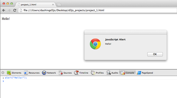 Chrome Webkit Inspector JavaScript Console Alert Test
